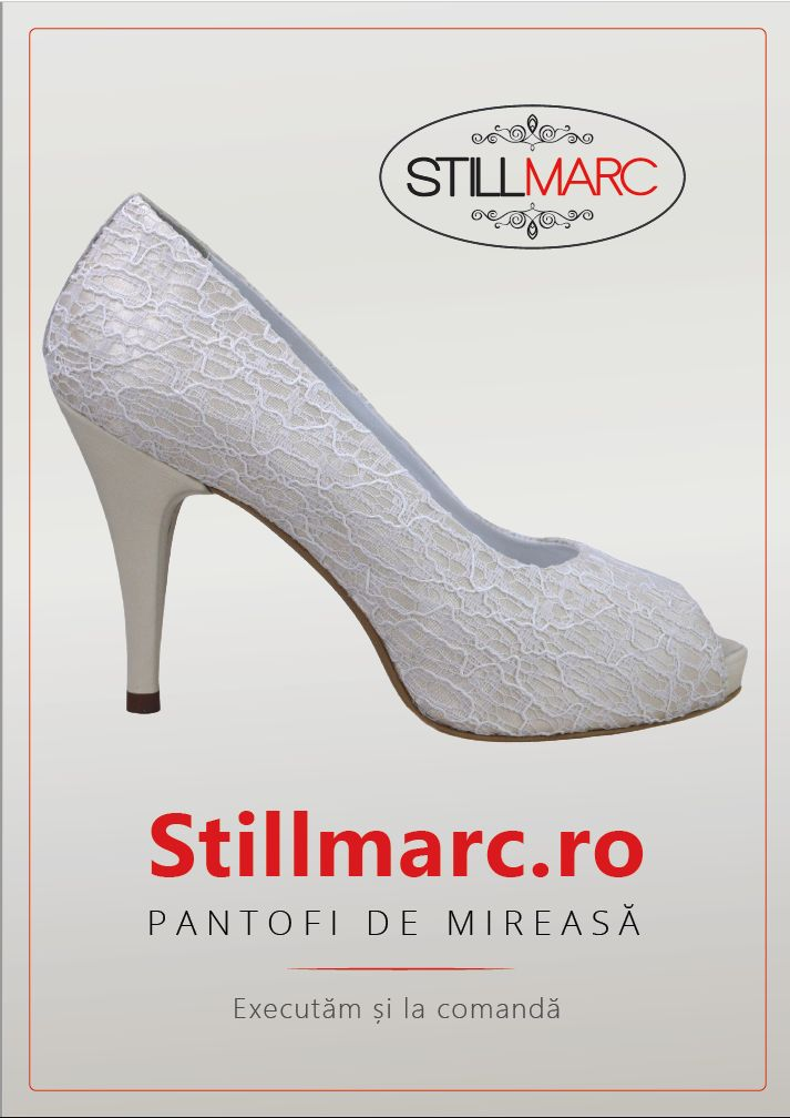 Pantofi panza dantelata crem, decupati la varf, cu platforma,cu toc de 9 cm