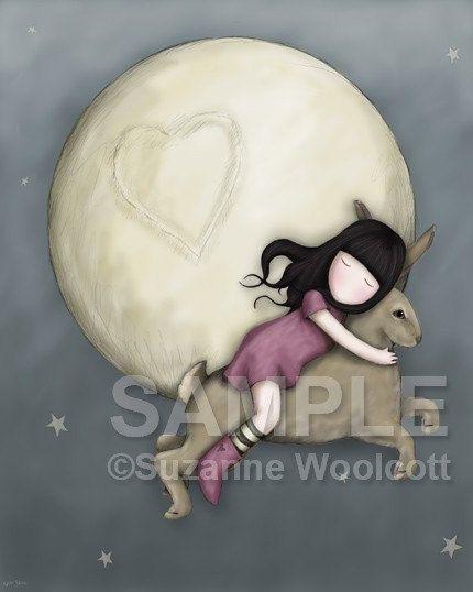 Over The Moon - 8 x 10 Giclee Fine Art Print - Gorjuss Art. $18.00, via Etsy.