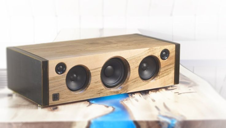 Model 5C is a powerful handmade high-end Bluetooth audio system.  Made of rustic maple. 160 watts of audio power. By PlanB Audio