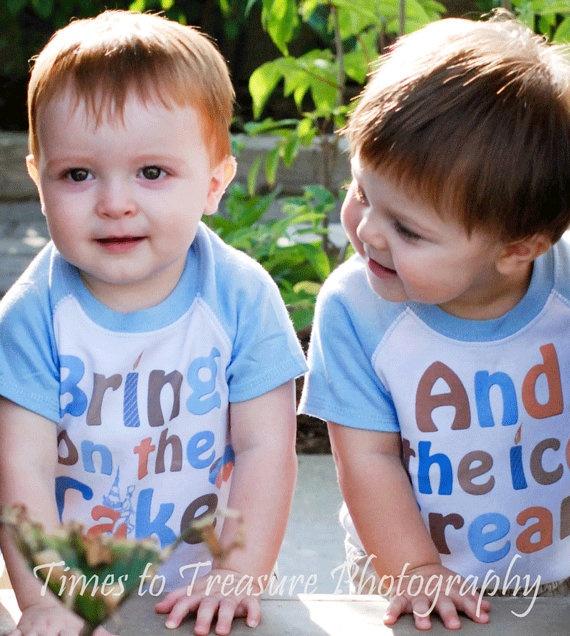 Twin Boys Birthday Shirts Lite Blue Raglan Sleeve by MumsyGoose, $31.00 @Nicole Ryan