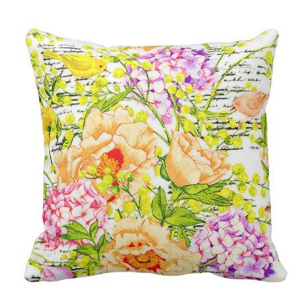 Vintage spring floral throw pillow #throwpillow #cushion #floral #homedecor #pretty