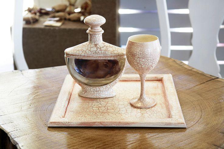 Σετ καράφα γονδολα & ποτήρι και δίσκος εκρού κρακελέ Atelier Zolotas