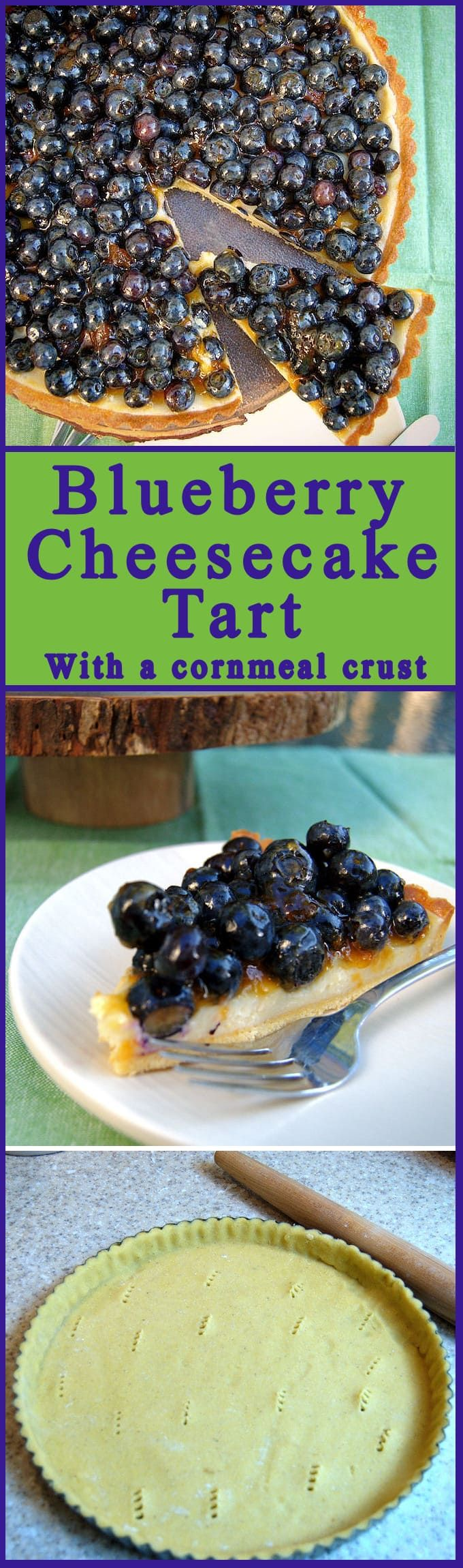 A crunchy cornmeal crust filled with creamy cheesecake filling and topped with fresh blueberries. The perfect summer dessert looks impressive and is easy to make.