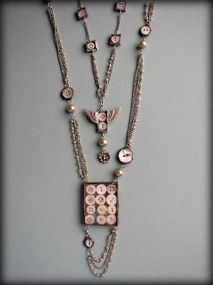 Why didn't I think of this???  Love the way Ingrid Dijkers uses buttons as design elements in these pieces. Genius!