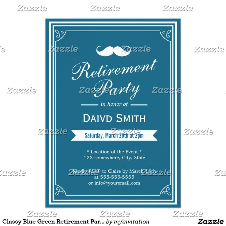 Classy Blue Green Retirement Party Invitations
