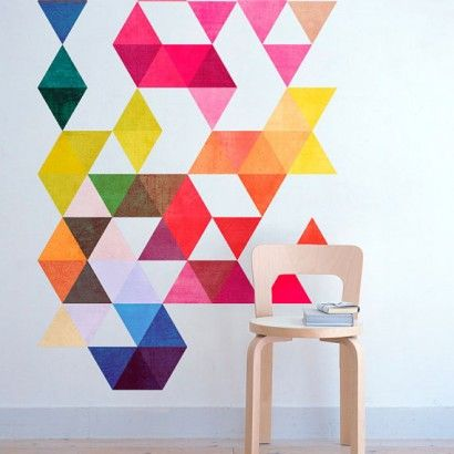 Multi Colored Triangles Mid Century - Moon Wall Stickers