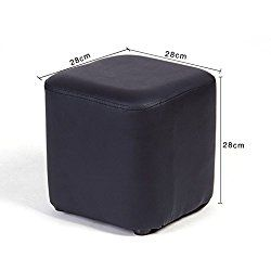 UUSSHOP Square Wooden Upholstered Footstool Footrest Ottoman Pouffe Chair Foot Stool Cube Seat with PU Leather Cover ( Black )