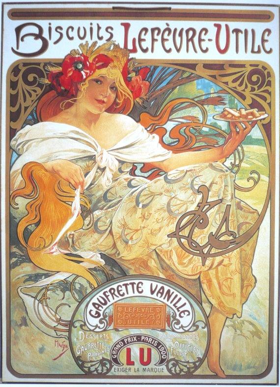 "LU Lefevre Utile Mucha Advertising Poster - French Art nouveau - Woman - 8"" x 12"". $9.00, via Etsy."