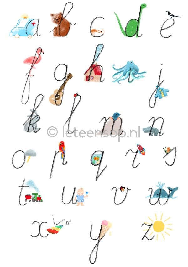 Alfabet poster kind kinderkamer - handschrift - alphabet poster kids - handwriting - illustration