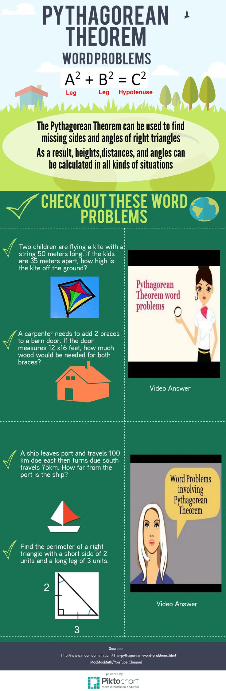 The Pythagorean Theorem can be used in Geometry to solve many word problems.