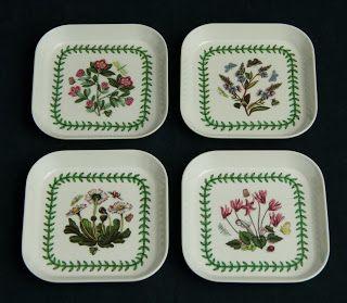 Portmeirion Melamine Snack Trays -- Botanic Garden pattern, Set of 4, small size, made in Italy.