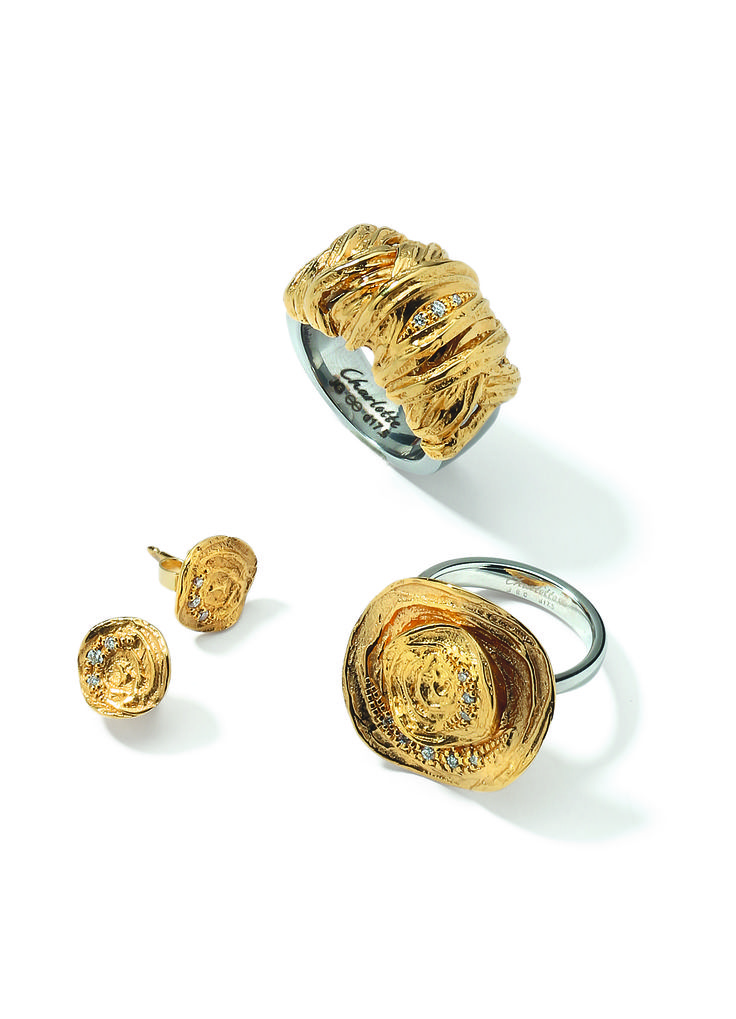 """Charlotte rings with 18k gold elements and diamonds with the matching earrings in gold with diamonds from the limited collection """"Ethno""""."""