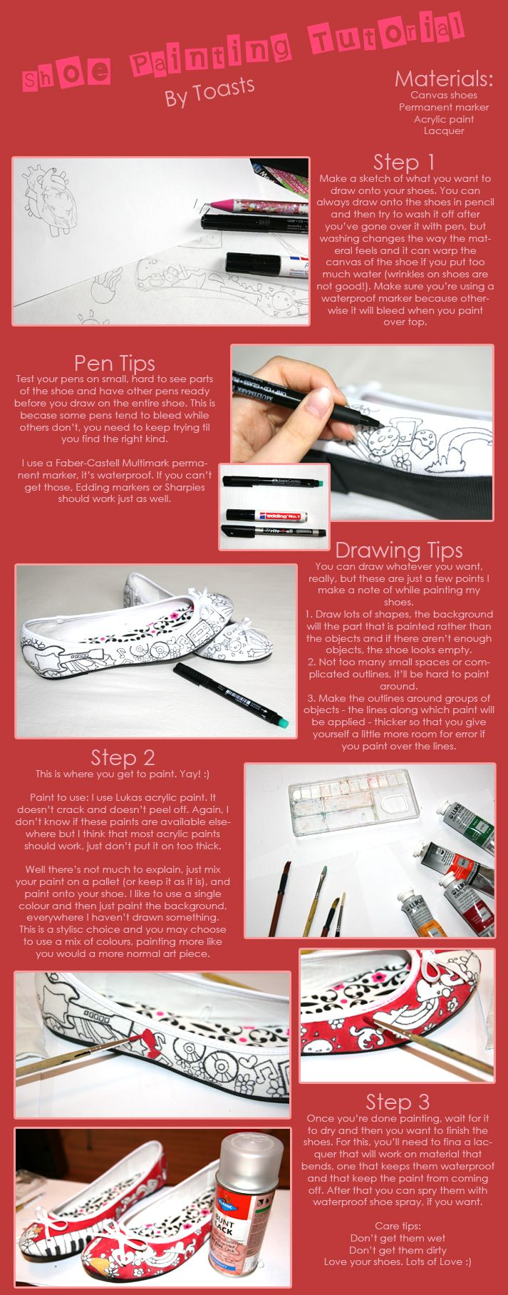 A useful tutorial for painting shoes, although I just use Sharpies. Be sure to use waterproofing spray so the colors don't bleed.