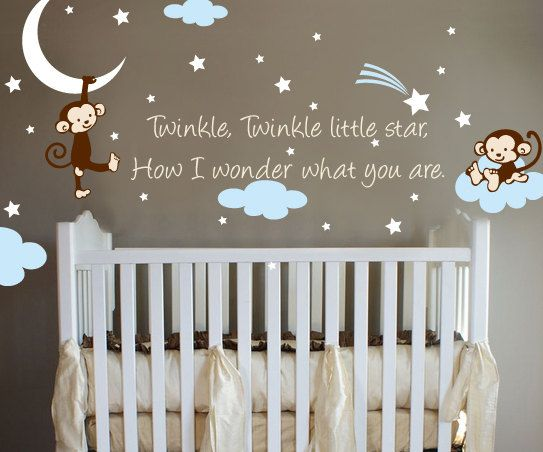 Monkey Twinkle Twinkle Little Star Nursery Wall Vinyl. $37.00, via Etsy.