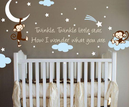 Monkey Twinkle Twinkle Little Star Nursery Wall Vinyl door ababywall, $37.00