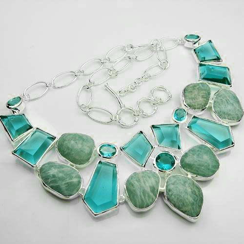Fashion Silver Jewelry Amazonite Gemstone Necklace