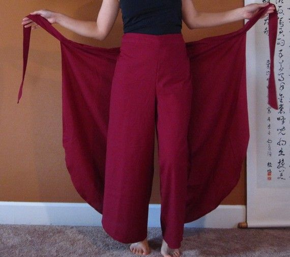 Asian butterfly  flare wrap around pants by annyschooclothing