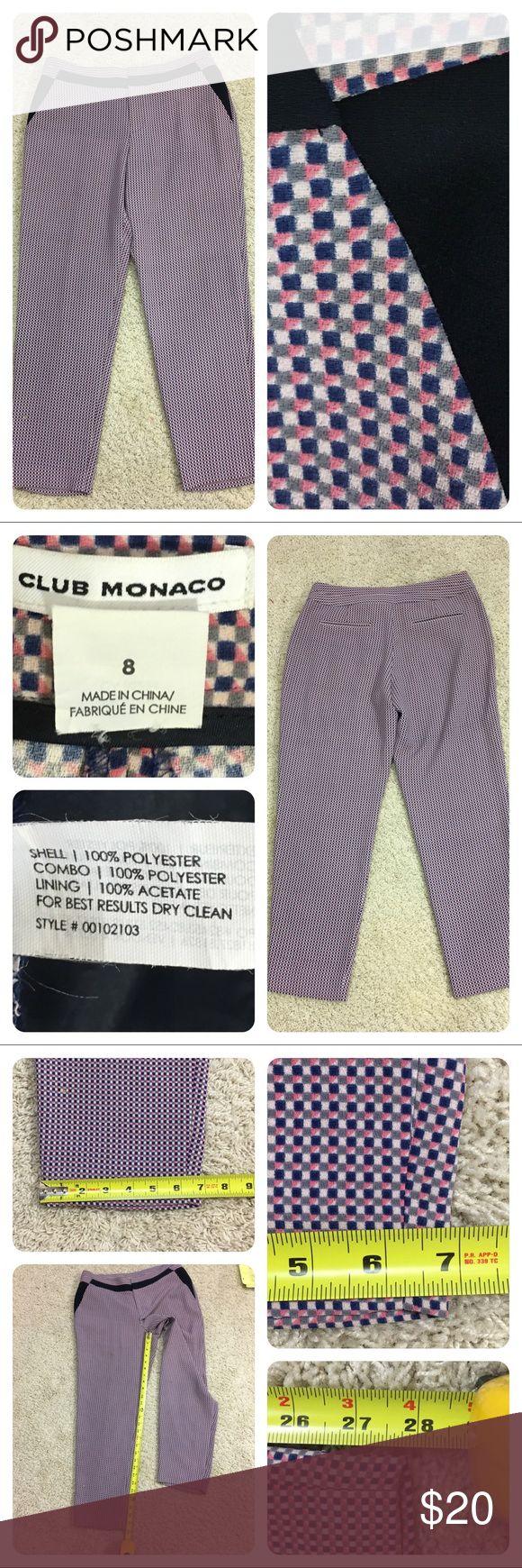 Club Monaco checked pants Fun checked pants from Club Monaco. Club Monaco Pants