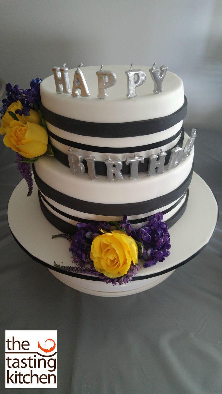 Black and White birthday cake, Fresh flowers