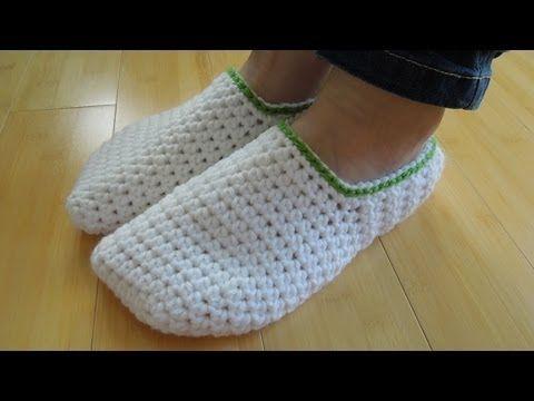 (crochet) How To - Crochet Simple Adult Slippers for Men or Women - YouTube