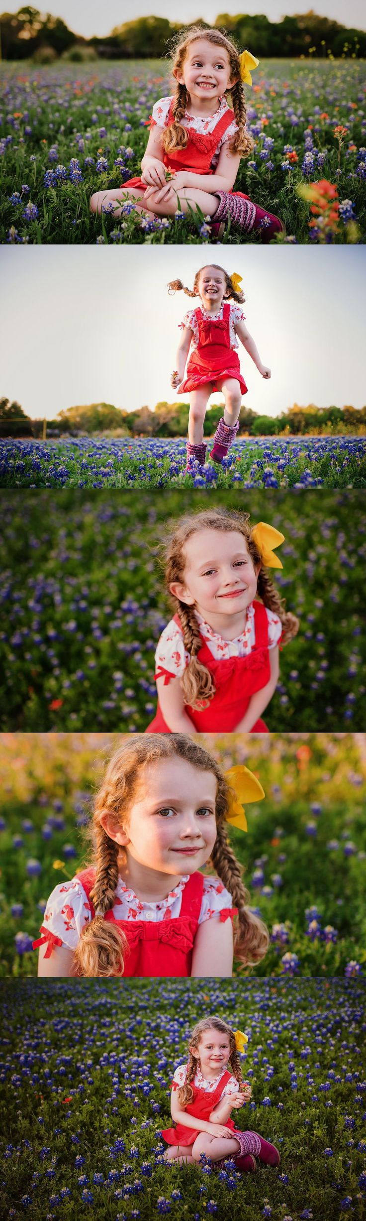 A bluebonnet session with a 5-year-old girl kindergartner in Waco Texas. Wild flowers offer lots of color, and so do the red overalls, the yellow bow in her hair, and her adorable braid. This little girl had lots of personality, and it showed!