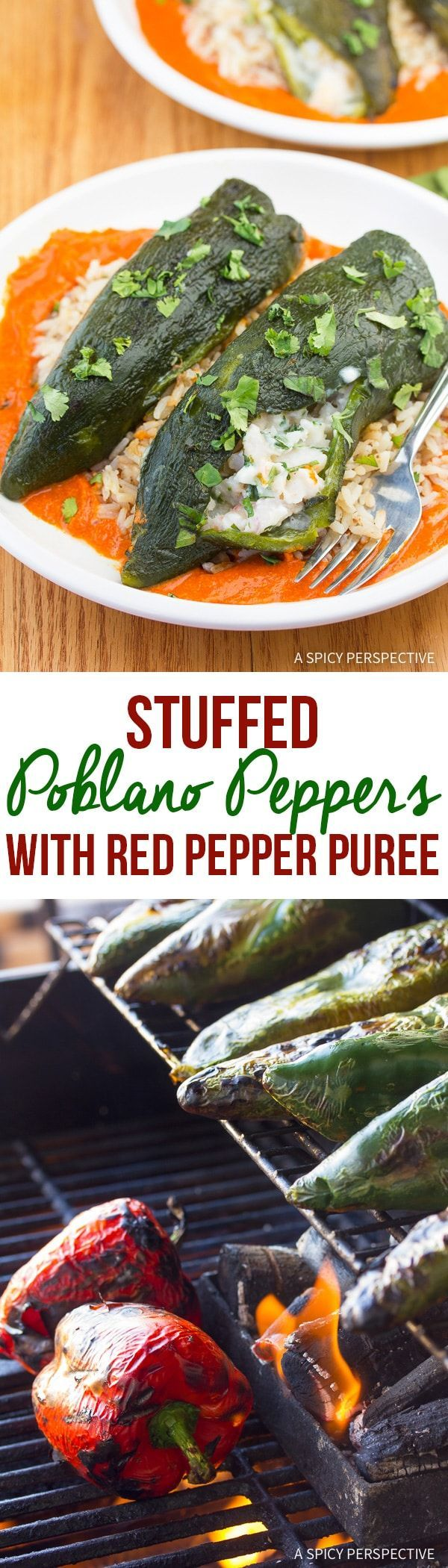 Healthy Chile Relleno! Stuffed Poblano Peppers with Red Pepper Puree Recipe via @spicyperspectiv