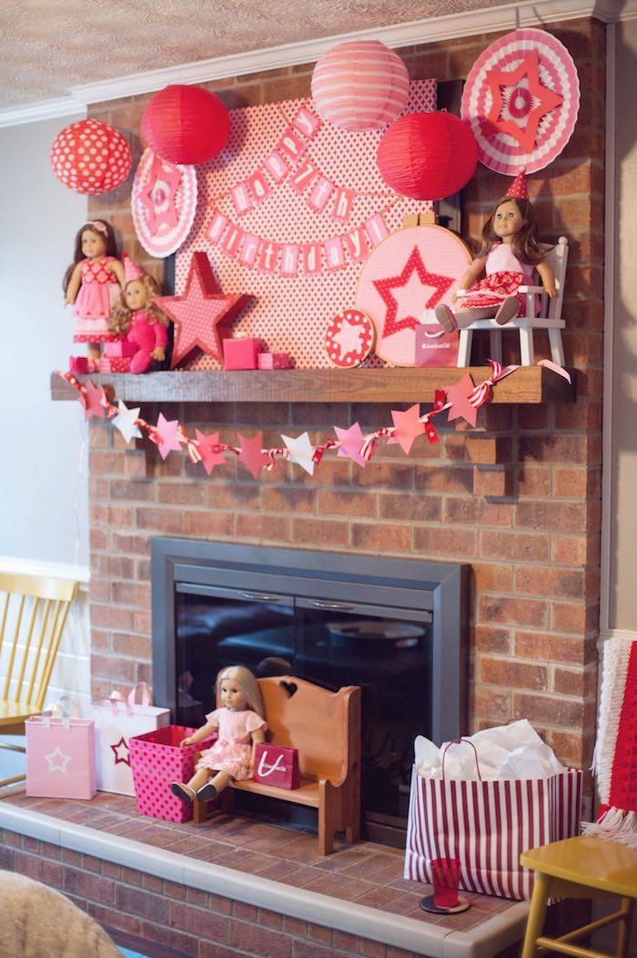 Fireplace Display from an American Girl Doll Themed Birthday Party via Kara's Party Ideas! KarasPartyIdeas.com (15)