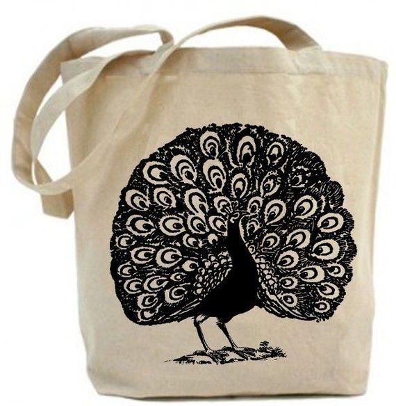 Peacock tote bag; cotton.