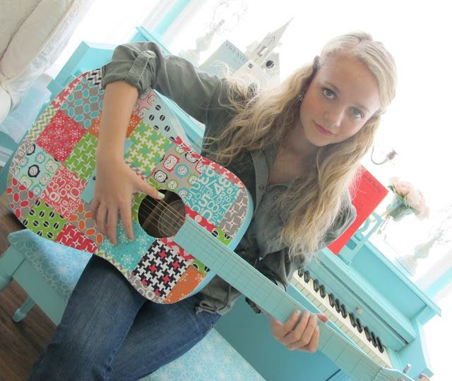 I LOVE this. I would keep my nails short to play a guitar like this. Mod Podge Guitar Tutorial!
