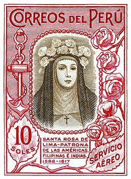 peru,peru postage stamp,santa rosa,patron saint,santa rosa lima,saint rose stamp,virgen de guadalupe,santa rosa stamp,collectible ephemera,philately,deity,peru stamp,lima,dominican order