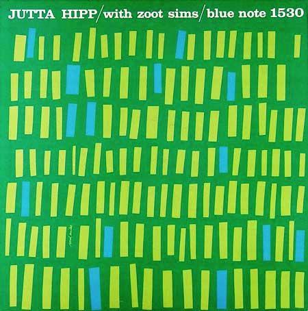 "jazz music cover graphic design Jutta Hipp with Zoot Sims Label: Blue Note 1530 12"" LP 1956  Design: Reid Miles"