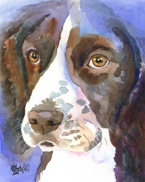 Springer Spaniel Art Print of Original Watercolor by dogartstudio, $24.50