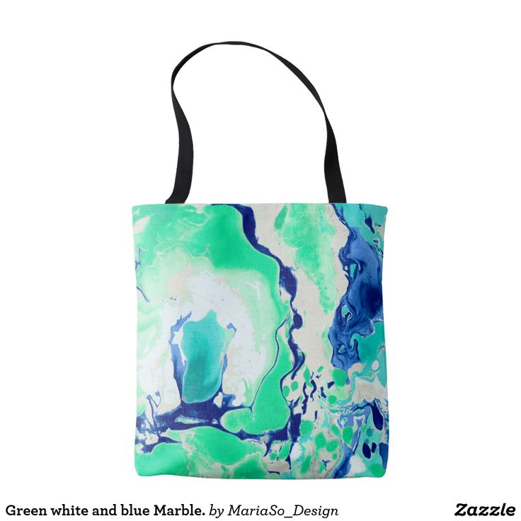 Green white and blue Marble. Tote Bag