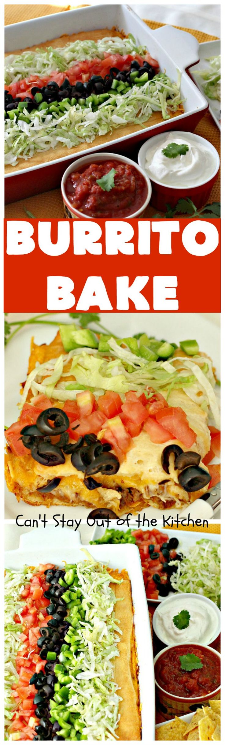 Burrito Bake   Can't Stay Out of the Kitchen   this incredibly easy #TexMex entree is layered with #crescentrolls, a #beef & #refriedbeans mixture, two cheeses & topped with olives, tomatoes & lettuce. It's served with #salsa & #guacamole for a fabulous one-dish meal that's perfect for weeknight suppers or company dinners.
