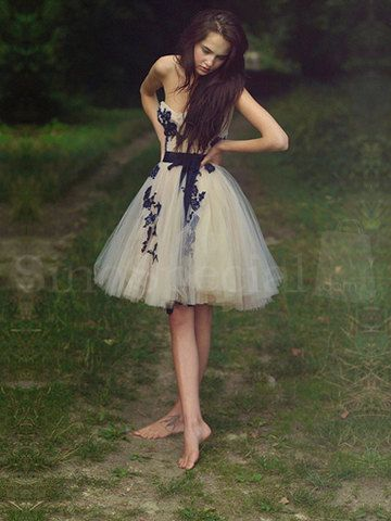 Fascinating Appliques Ball Gown Sweetheart Mini Prom Dress with Sash, Cheap Short Homecoming Dresses, Formal Dress, Short Lace Dresses on Etsy, $181.07 AUD