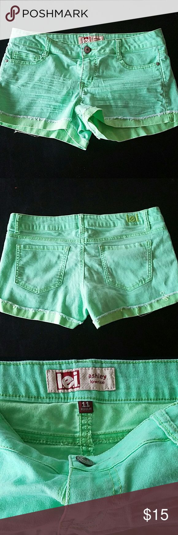 Funky neon green low rise shorts Light and stretchy shorts Shorts