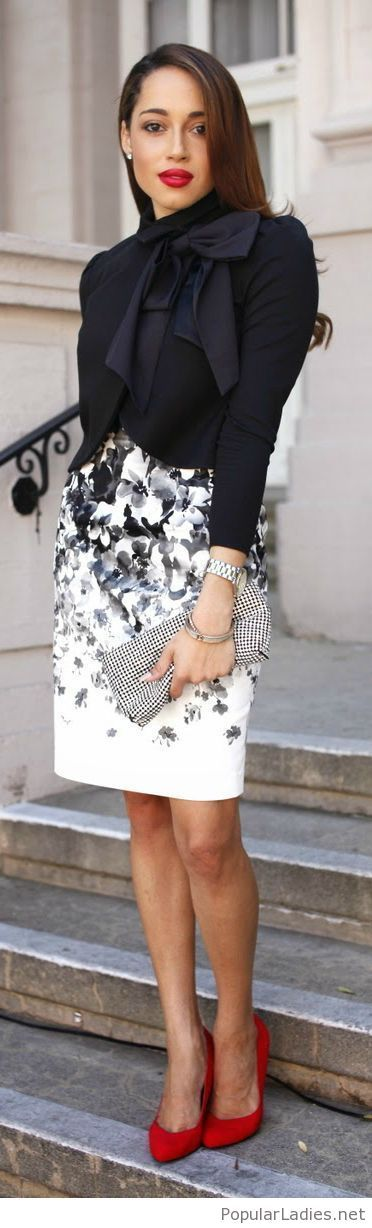 Printed skirt and a black blouse