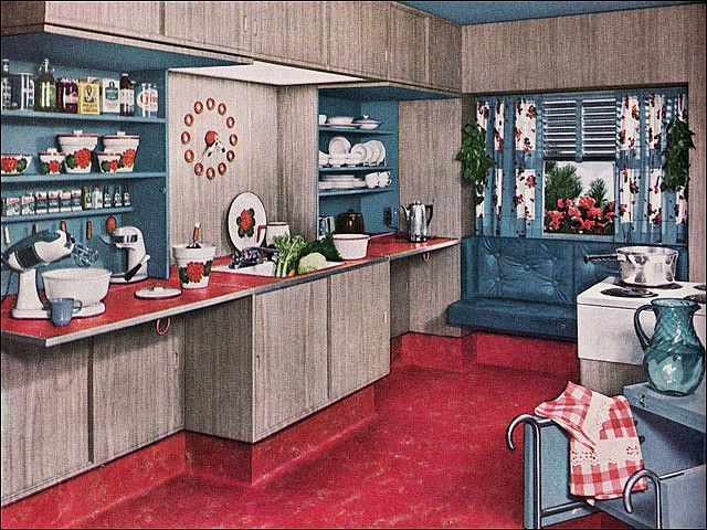 1951 Armstrong Kitchen. The shelves you see fold closed so there is a solid, flat, and very modern front when you're done in the kitchen!