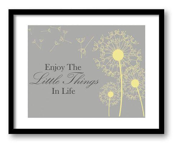 Enjoy The Little Things In Life Yellow Grey Gray Dandelion Bathroom Art Print Wall Decor Bathroom