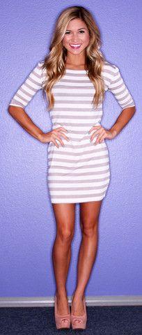 Grey Stripe PIKO Dress | Impressions $34