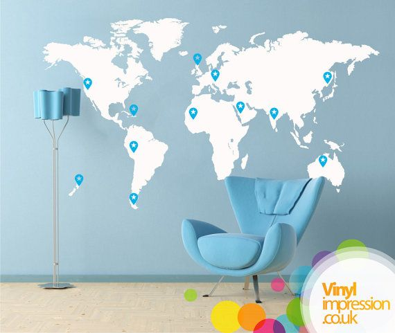 Map Of The World Wall Decal World Trip Wall Decal Vinyl Wall - How to put a decal on my wall