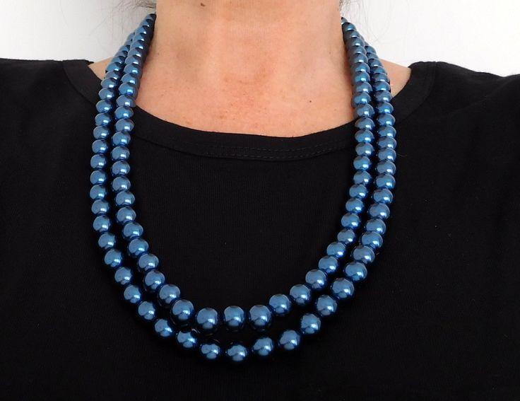 Alma mía by Josefina Muñoz Collar de perlas color azul de dos vueltas