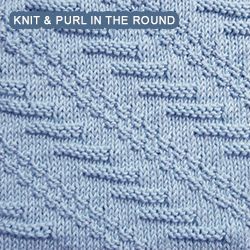 Diagonal - Patterrn 1 - knitting in the round. [Knit and Purl in the round] Textured Diagonal pattern