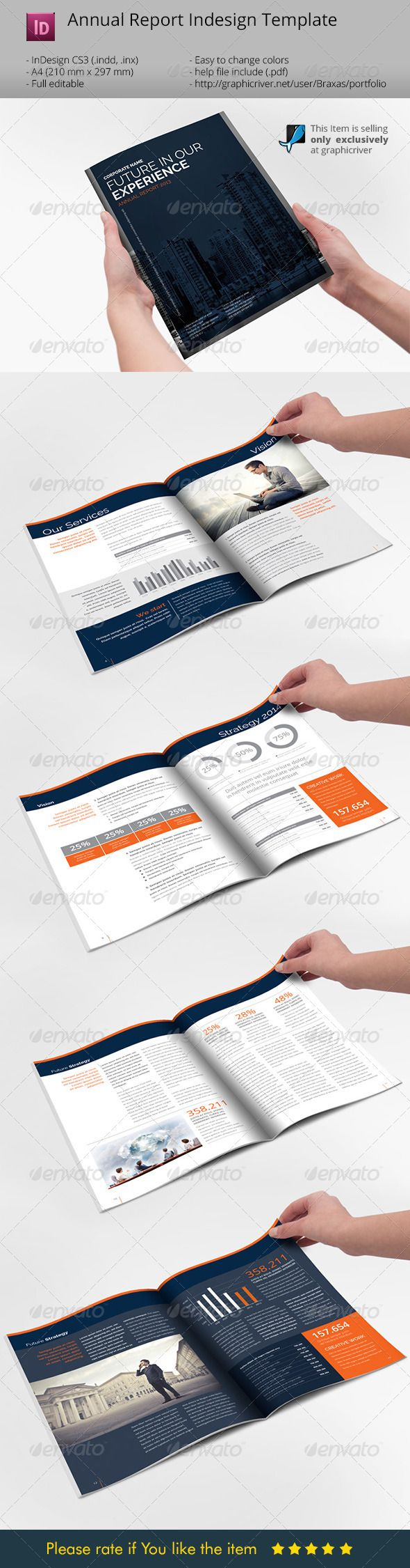 Annual Report Indesign Template Informational Brochures