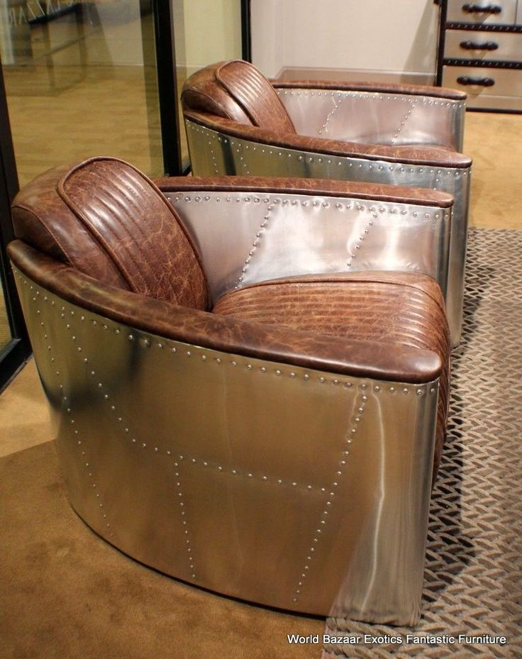 "Set of TWO 36"" W Arm chairs ~ Modern Premium Vintage brown leather Stainless steel. eBay seller: world_bazaar_exotics $3195.00 BIN or BO (Aug.2014)"