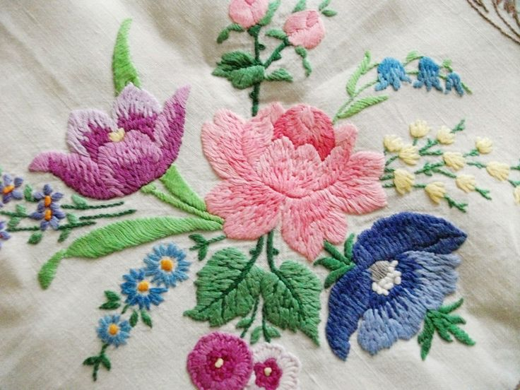 "Vintage Hand Embroidered - 49"" X 52"" Tablecloth - FLORAL SCROLLS"