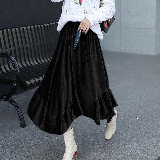 velvet skirt high waist women 2017 vintage ruffles irregular midi skirt women autumn spring a-line billowing velour skirts