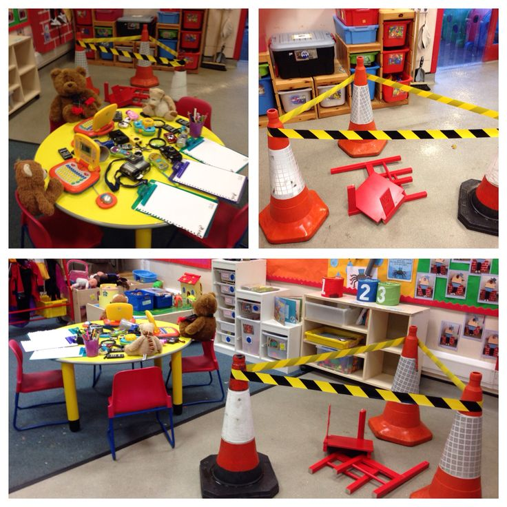 Who broke the chair? The 3 bears crime scene. Children enjoyed using cameras, phones and magnifying glasses to find clues around the Nursery.