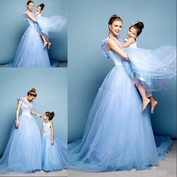Newest Cinderella Prom Dresses Mother Daughter Matching Dresses Ice Blue Ball Gown V Neck Cap Sleeves Wedding Party Dresses Custom Made Online with $96.86/Piece on Baosu's Store | DHgate.com