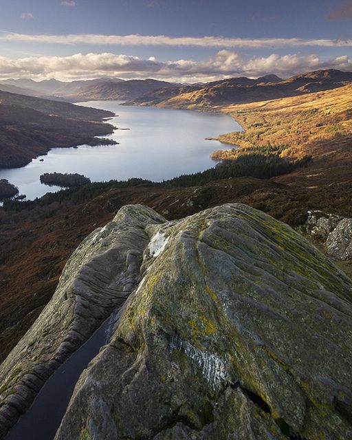 Looking towards Loch Katrine from the summit of Ben A'an, Loch Lomond & the Trossachs National Park.